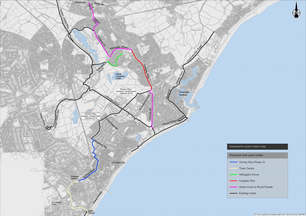 Map of proposed new cycle routes in Eastbourne.
