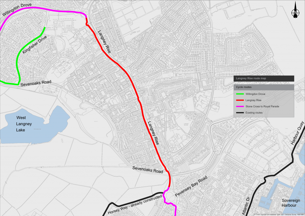 Proposed Langney Rise cycle route