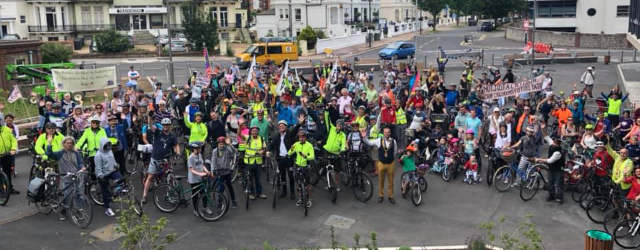 Cyclists demanding a safe seafront cycle route